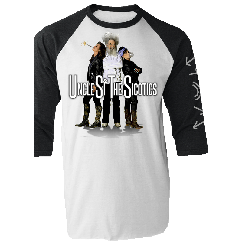 Uncle Si and the Sicotics White and Black Raglan Tee